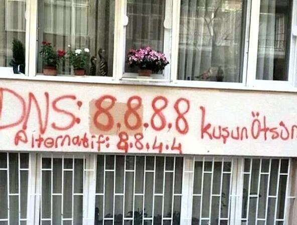 Google's DNS address painted on a wall in Turkey
